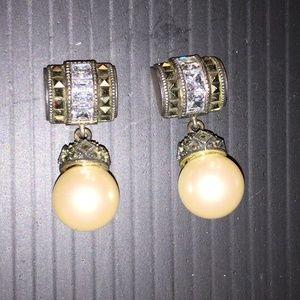 Marcasite  Pearl Drop Earring